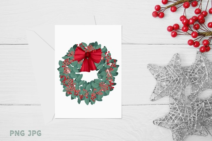 Christmas Sublimation mistletoe wreath with red bow PNG