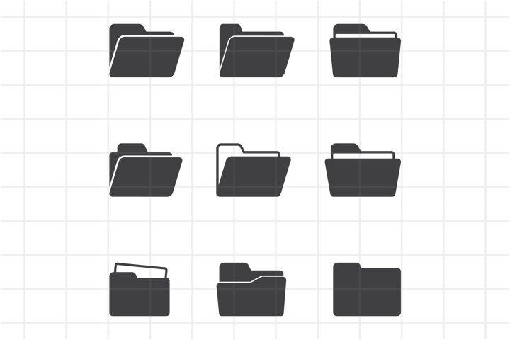 Set of open folder icons, vector isolated SVG, PNG, EPS, AI