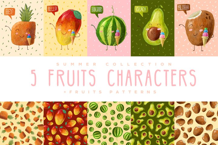 Cute smiling fruit characters with ice-cream and patterns