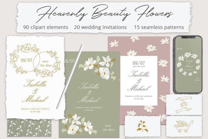 Heavenly Beauty Flowers Illustration Set