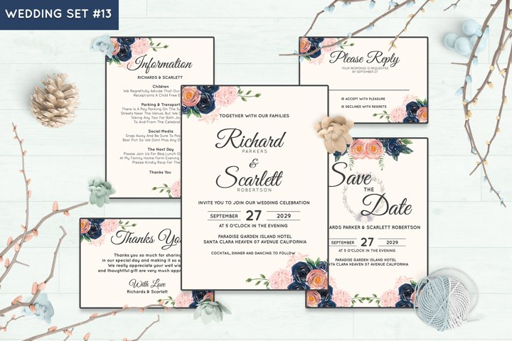 Wedding Invitation Set #13 Watercolor Floral Flower Style