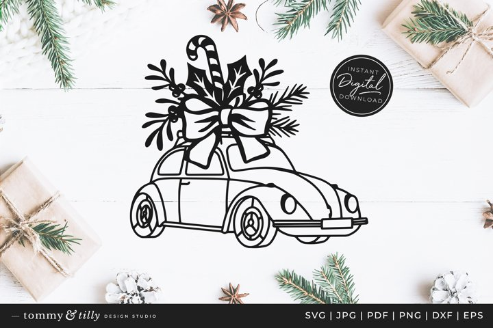 Christmas Floral Car- SVG DXF PNG EPS JPG PDF Paper Cutting