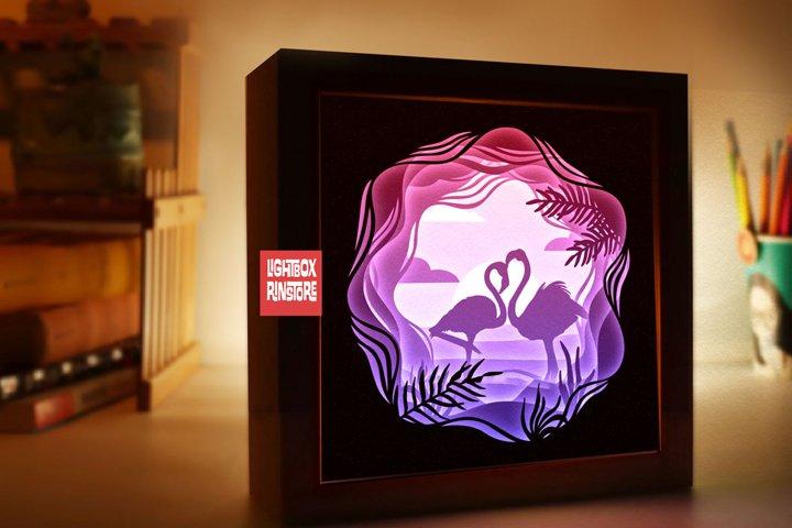 152 Flamingo paper cut , 3d paper cut lightbox templates