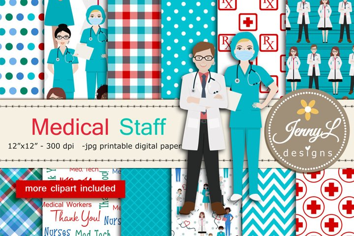 Medical Staff Doctor Digital Papers and Stethoscope Clipart