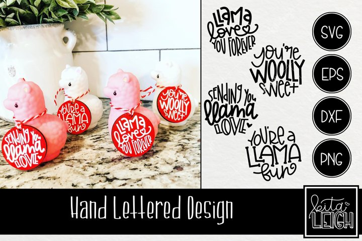 Valentines Day Hand Lettered Llama Rounds SVG