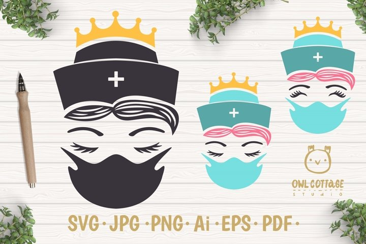 Nurse with mask svg, Crown the nurse svg, Nurse Tattoo