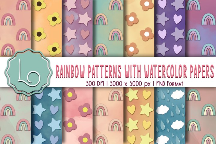 Rainbow Patterns with Watercolor Papers
