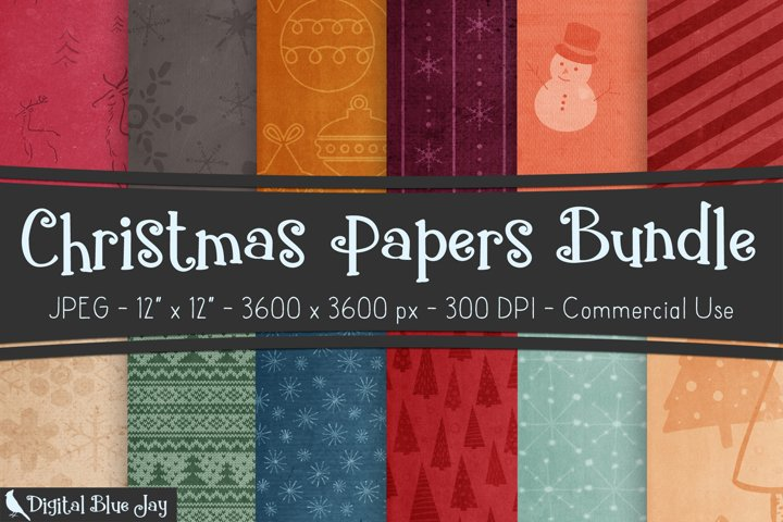 Digital Scrapbook Paper Backgrounds - Christmas Bundle
