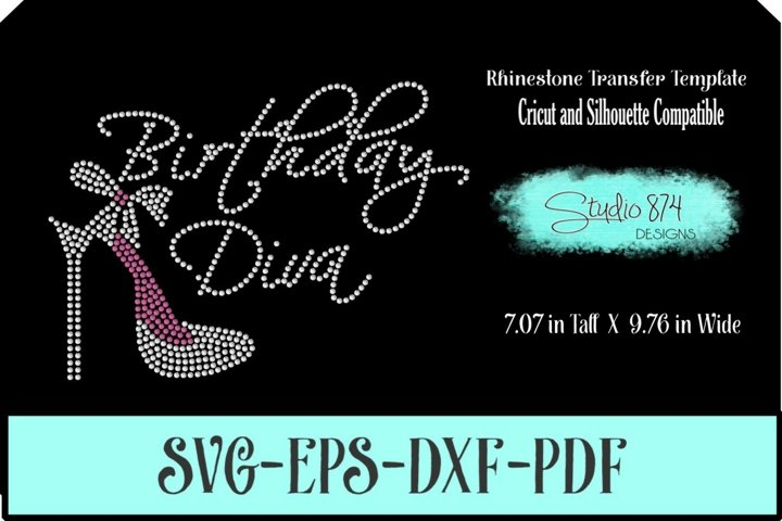 Birthday Diva Rhinestone SVG Template