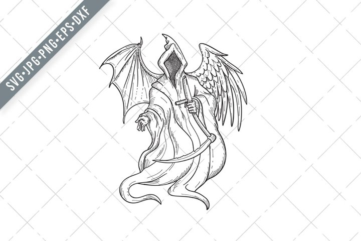 Grim Reaper or Angel of Death with Bird Wing and Bat Wing