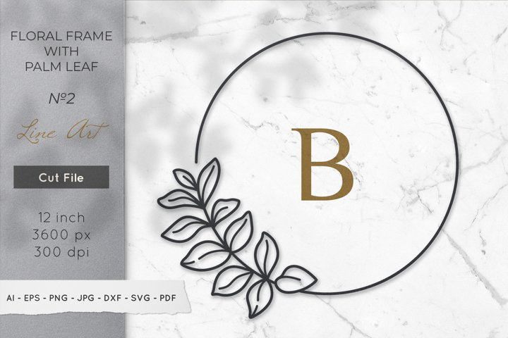 Floral Monogram Frame svg, Leaf Monogram Frame svg, png, dxf