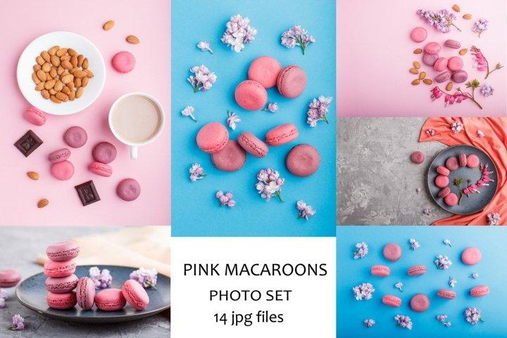 Purple and pink macaroons photo set.