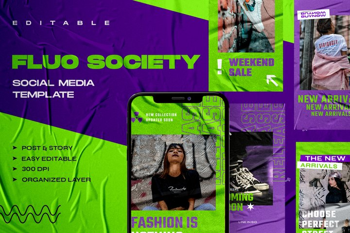 FLUO SOCIETY - Instagram Stories & Post