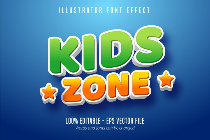 Kids zone text, 3d kids section style editable text effect