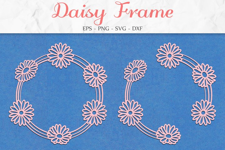 Daisy Frame SVG, Floral Clipart, Flower Wreath, Mothers Day