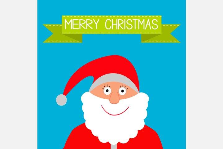 Santa Claus and green ribbon. Merry Christmas. Xmas card.