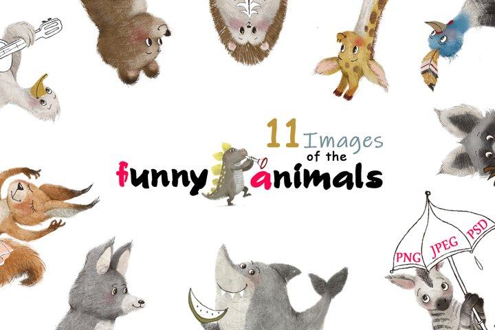 funny animals clipart set