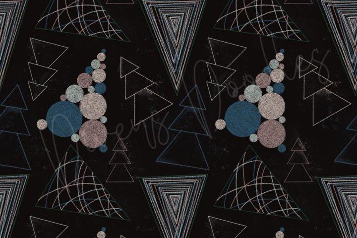 Blue Modern Chalkboard Christmas Tree Seamless Pattern