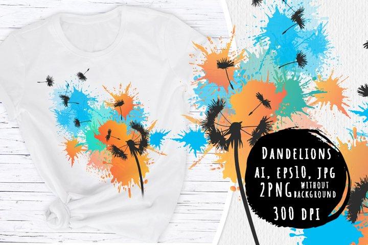Dandelions. Colorful prints
