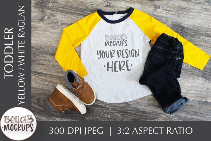 Toddler Shirt Mockup, Youth Boys Yellow Raglan Shirt Mockup
