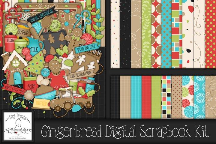 Gingerbread Digital Scrapbook Kit.