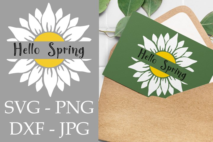 Hello spring svg with daisy svg and spring welcome sign