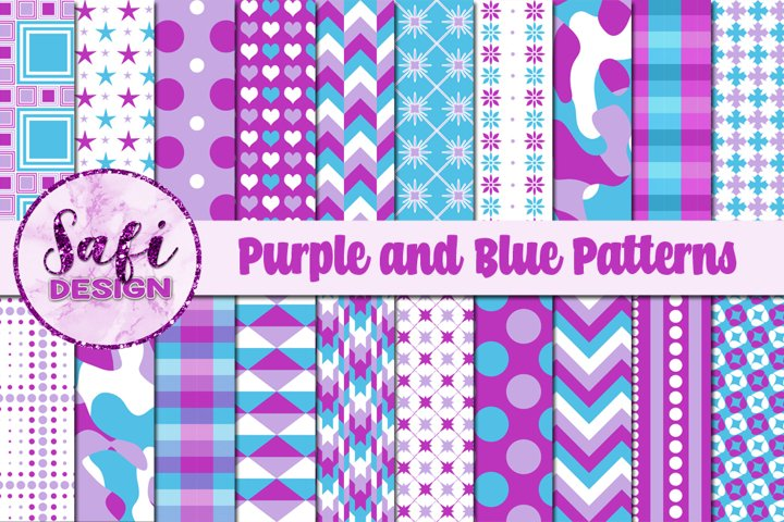 Digital Paper Backgrounds - Purple and Blue Patterns