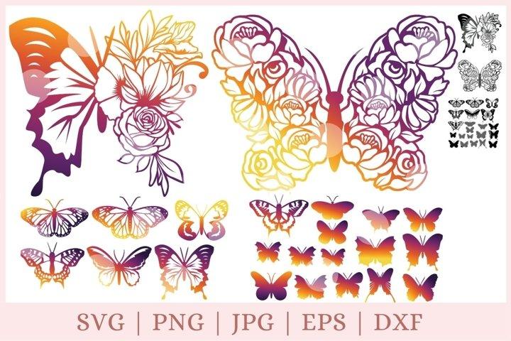 Floral Butterfly SVG, Butterfly SVG bundle