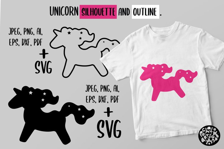Simple SVG silhouette and outline unicorn.