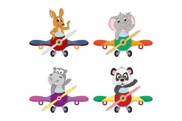 cute animal cartoon with airplane