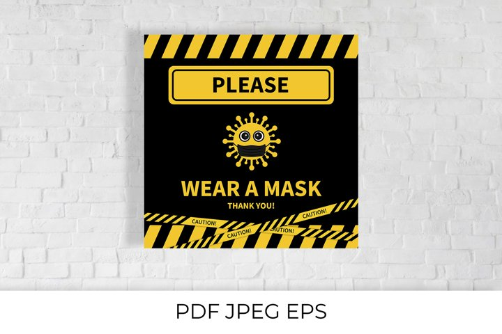 Please wear a mask with cute cartoon virus printable sign.