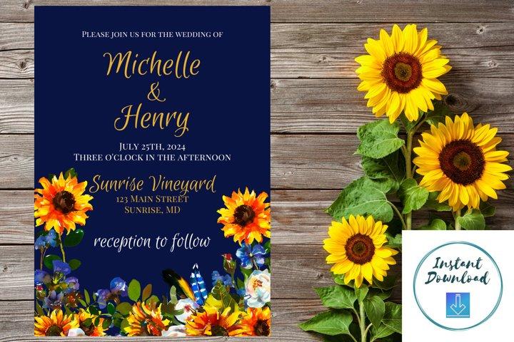 Sunflower and Blue Wedding Invitation