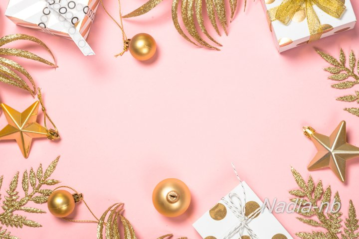 Christmas holiday background with decorations on pink.