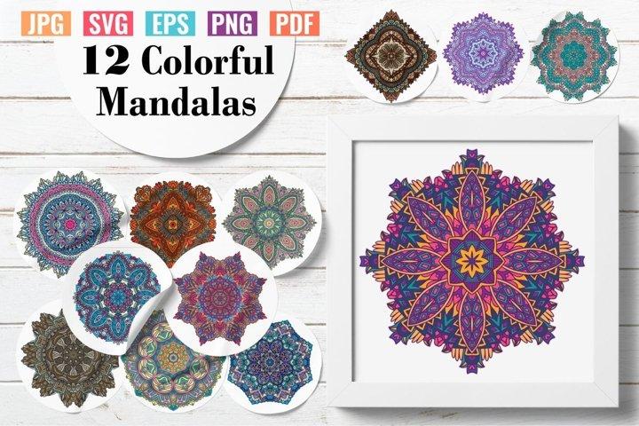 12 Colorful Mandalas vector eps and png