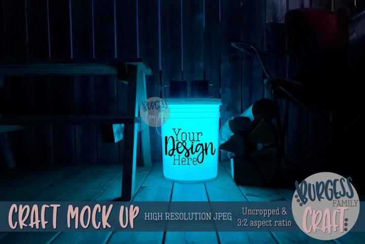 Bucket light table teal II | Craft mock up