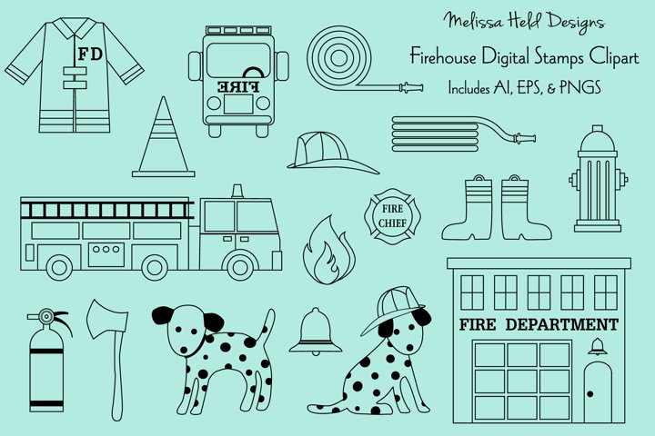 Firehouse Digital Stamps Clipart
