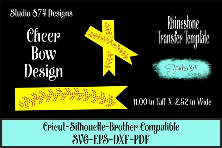 Softball-Baseball Bow Rhinestone SVG - Cheer Bow