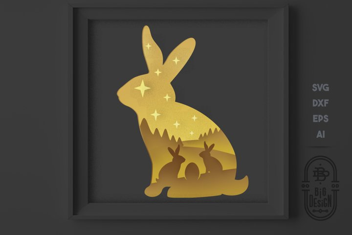 Easter Bunny 3D Scene, Layered papercut - Paper Light Box