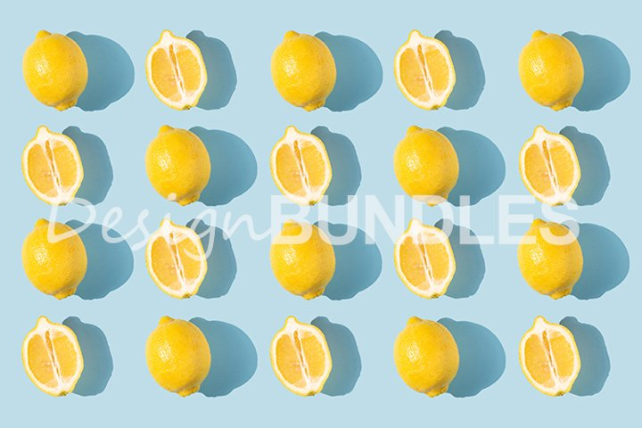 Pattern of lemons with shadow on a blue background.