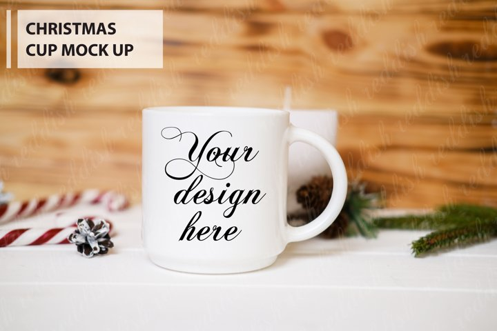 White Cup Mock-up, Christmas decorations, candles, tree