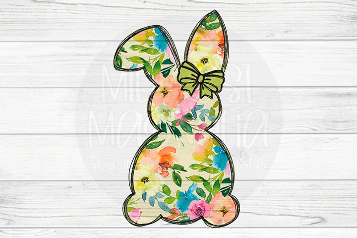 Floral Bunny with Green Bow