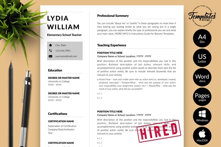 Teacher Resume CV Template for Word & Pages Lydia William
