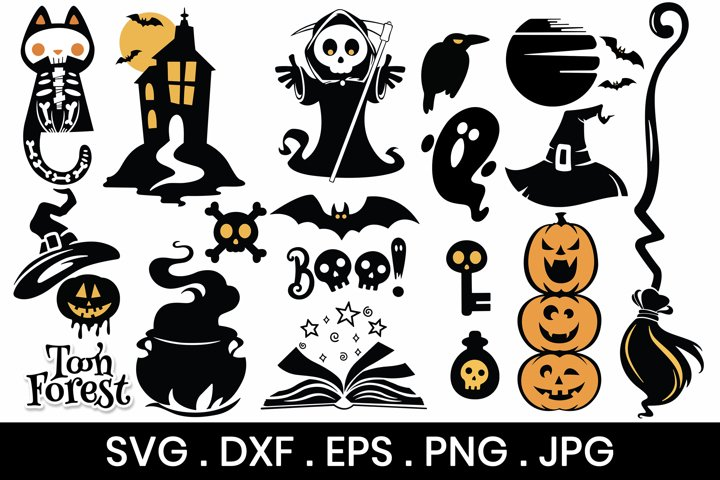 Halloween SVG, DXF, EPS, and Png Cut Files Bundle