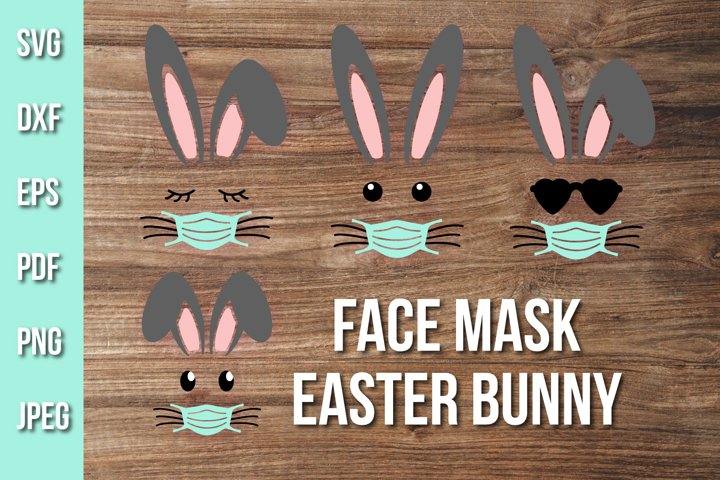 Easter Bunny Face Mask Quarantine Cut File