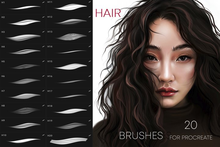 20 Hair brushes for Procreate