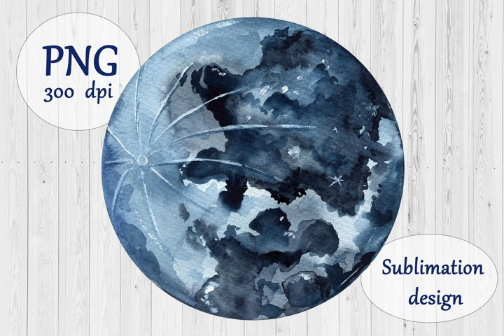 Watercolor Navy Blue Moon Sublimation Design - Planet PNG