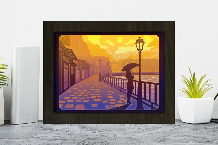 Old Street Lantern 2 3D Paper Cutting Light Box - Shadow Box