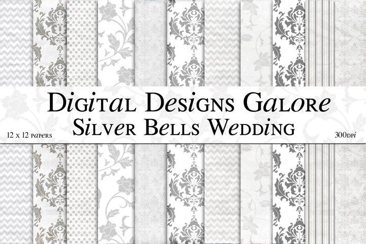 Silver Bells Wedding Digital Paper Pack