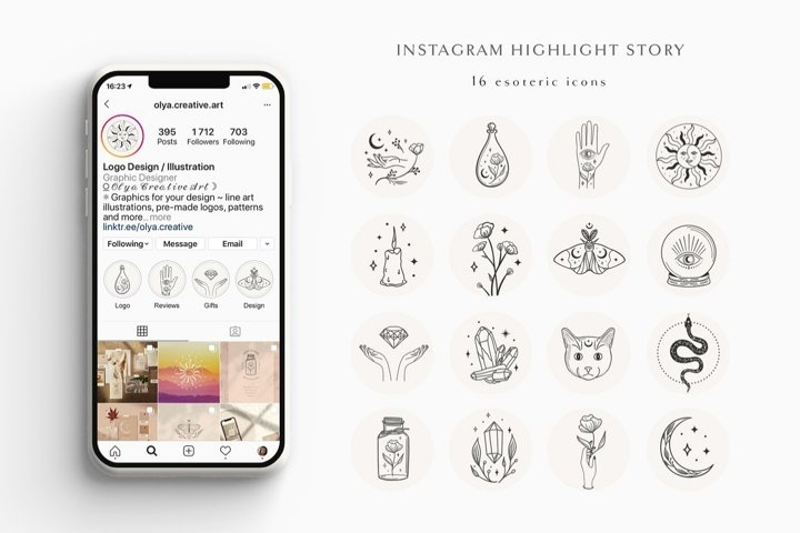 Hand Drawn Instagram Highlight Story Templates and Icons.