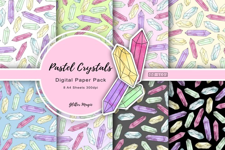 Pastel Crystal Gemstones Craft Papers 8 A4 Sheets